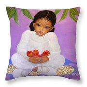 Girl Sitting Under Mango Tree Throw Pillow