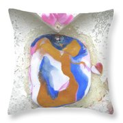 Girl Spreading Hearts Throw Pillow