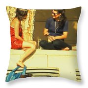 Girl Talk Throw Pillow