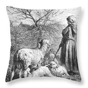 Girl Tending Sheep Throw Pillow
