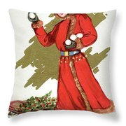 Girl Throwing Snowballs In A Christmas Landscape Throw Pillow