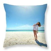 Girl Under The Sunshine Throw Pillow