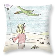 Girl Under Turtles Throw Pillow