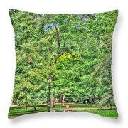 Girl Uninterrupted In Central Park Throw Pillow