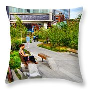 Girl Uninterrupted On The High Line Throw Pillow