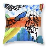 Girl With A Bat Throw Pillow