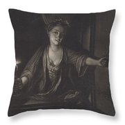 Girl With A Candle Throw Pillow