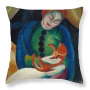 Girl With A Cat II Throw Pillow