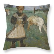Girl With A Goat  Throw Pillow