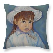 Girl With A Hat Throw Pillow