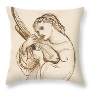 Girl With A Musical Instrument Throw Pillow