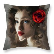 Girl With A Red Rose.. Throw Pillow