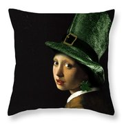 Girl With A Shamrock Earring Throw Pillow