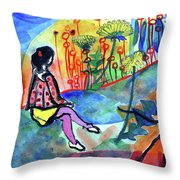 Girl With A Spider Throw Pillow