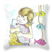 Girl With A Toy-fish Throw Pillow