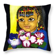 Girl With African Violet Throw Pillow