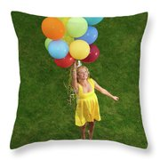 Girl With Air Balloons Throw Pillow