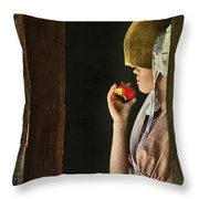 Girl With Apple Throw Pillow