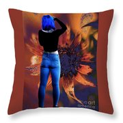 Girl With Blue Hair Throw Pillow