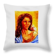 Girl With Blue Shawl Throw Pillow