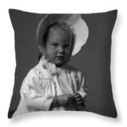 Girl With Bonnet And Curls Throw Pillow