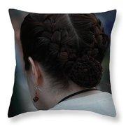 Girl With Braided Hair Throw Pillow