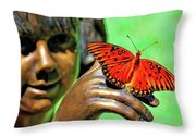Girl With Butterfly Throw Pillow