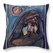 Girl With Cat And Moon Throw Pillow