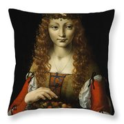 Girl With Cherries  Throw Pillow