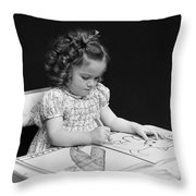 Girl With Coloring Book, C.1960-40s Throw Pillow