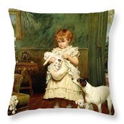Girl With Dogs Throw Pillow by Charles Burton Barber