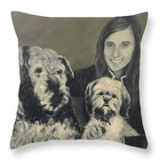 Girl With Dogs In Black And White Throw Pillow