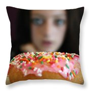Girl With Doughnut Throw Pillow