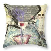 Girl With Drink Throw Pillow