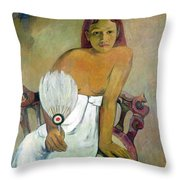 Girl With Fan Throw Pillow