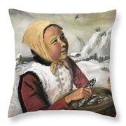 Girl With Fish Basket Throw Pillow