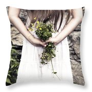 Girl With Flowers Throw Pillow