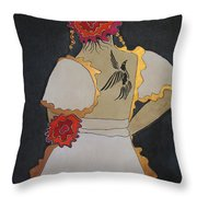 Lady With Flowers Throw Pillow