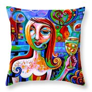 Girl With Glass Of Chardonnay Throw Pillow