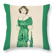 Girl With Green Dress Throw Pillow