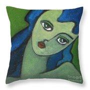 Girl With Green Eye Throw Pillow