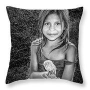Girl With Her Pet Throw Pillow