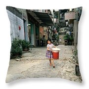 Girl With Laundry Basket Throw Pillow