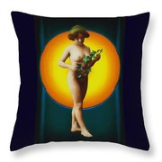 Girl With Leaves Throw Pillow
