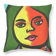 Girl With Necklace Throw Pillow
