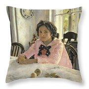 Girl With Peaches Throw Pillow