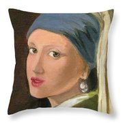 Girl With Pearl Earring Of Vermeer Throw Pillow