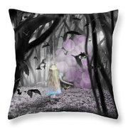 Girl With Pink Balloons Throw Pillow