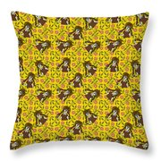 Girl With Popsicle Yellow Floral Throw Pillow