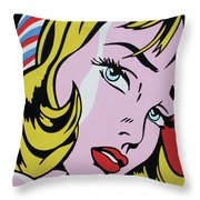 Girl With Ribbon Throw Pillow
